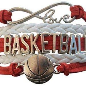Girls Basketball Bracelet - Red & White